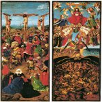 Jan van Eyck (about 1395-1441)  Crucifixion and Last Judgment  Oil on canvas, transferred  wood, about 1430  56.5 x 19.7 cm (each panel)  Metropolitan Museum of Art, New York, USA